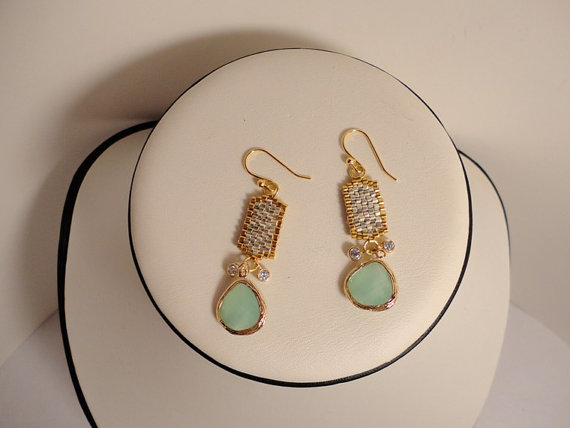 dangle gold silver earring. beadwork earrings. mint green stone earrings.beadwoven earrings.seed bead earring.jewelry earrings