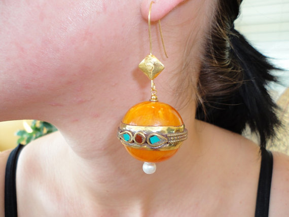 dangle earring. amber earrings. ethnic earrings. tibetan amber earring. brass turquoise  pearl earrings. gemstone jewelry