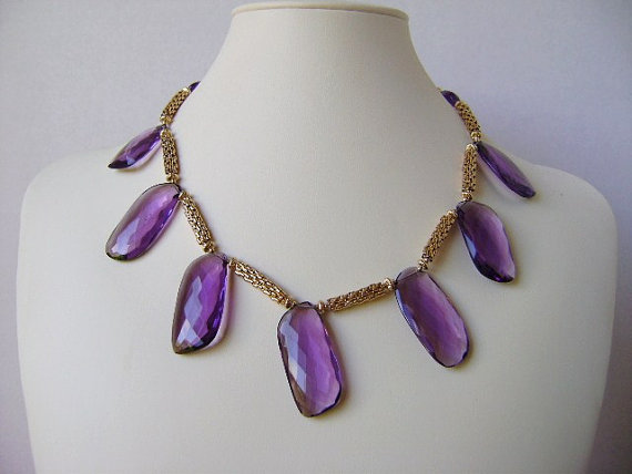 fine jewelry. purple amethyst necklace. 14kgf gold necklace. beadwork necklace. handmade necklace. beaded neacklace. gemstone jewelry