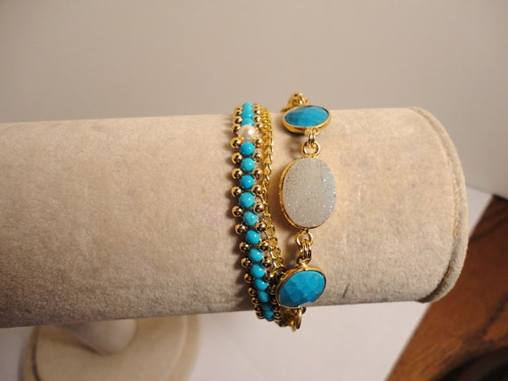 bracelet wrap turquoise beads. druzy beaded bracelet. gemstone bracelet. gold bracelet. beaded bracelet. gemstone jewelry