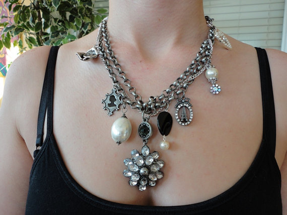 steampunk necklace. vintage style necklace. silver pewter necklace.rhinestone charm necklace.crystal necklace