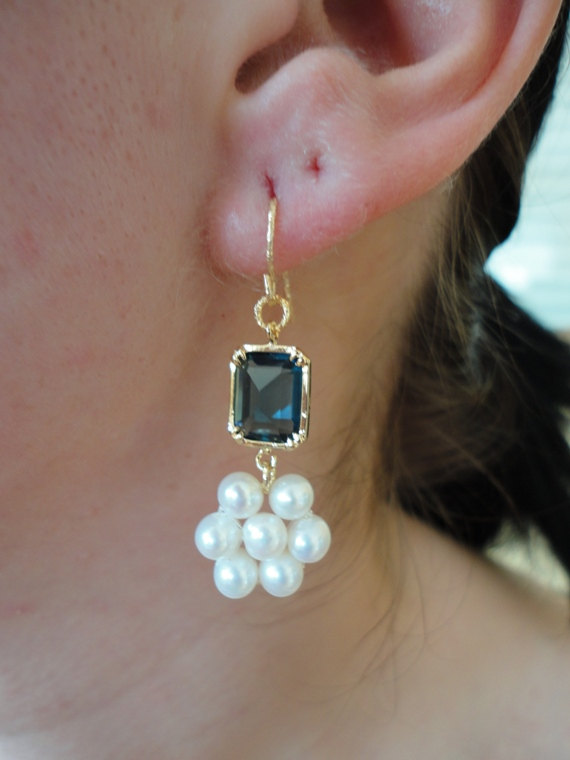 dangle saphire blue gemstone CZ earring. gold earring. white pearl earring. victorian style earring.handmade.fine jewelry. gemstone jewelry