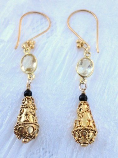 dangle earring. gold earring.lemon quartz earring. bali bead . victorian earring. fine jewelry. gemstone jewelry