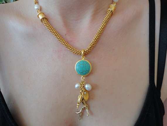beadwork necklace. 24kgp seed bead necklace. turquoise necklace. pearls 24kg vermeil charm pendant. gemstone jewelry
