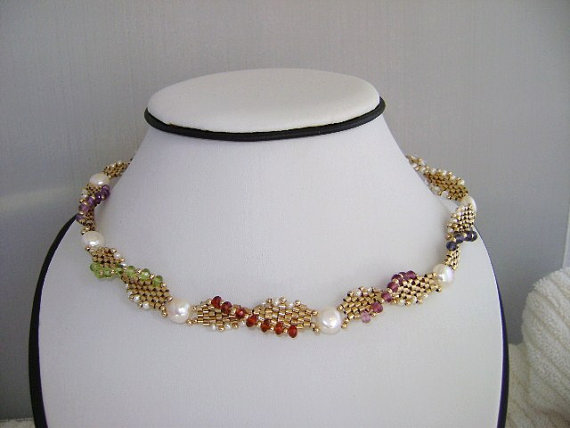 fine jewelry choker necklace. multy gemstone necklace. gold necklace. statment necklace. beadwork necklace, gemstone jewelry