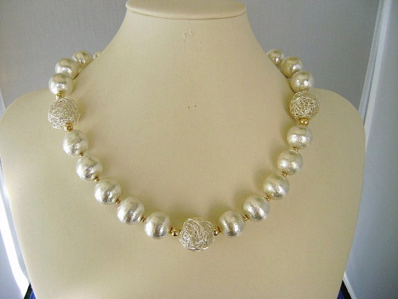 fine jewelry silver statement necklace. 14k gold bead necklace. strand necklace. beaded necklace.