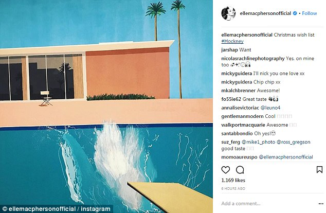 Iconic work: Taking to Instagram on Wednesday, the Australian beauty shared a photo of the 1967 artwork along with the caption: 'Christmas wish list #Hockney'