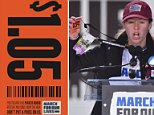 Marjory Stoneman Douglas High School student Sarah Chadwick speaks at the March for Our Lives rally in Washington, DC on March 24, 2018. She is seen holding up the $1.05 price tag