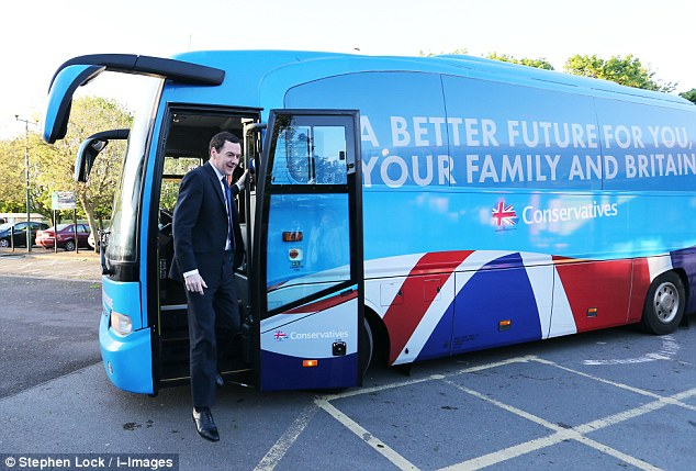 Mr Osborne, pictured arriving in Loughborough on his 24-hour tour of England, said global investors could turn their back on Britain if they believe the economic recovery is in doubt
