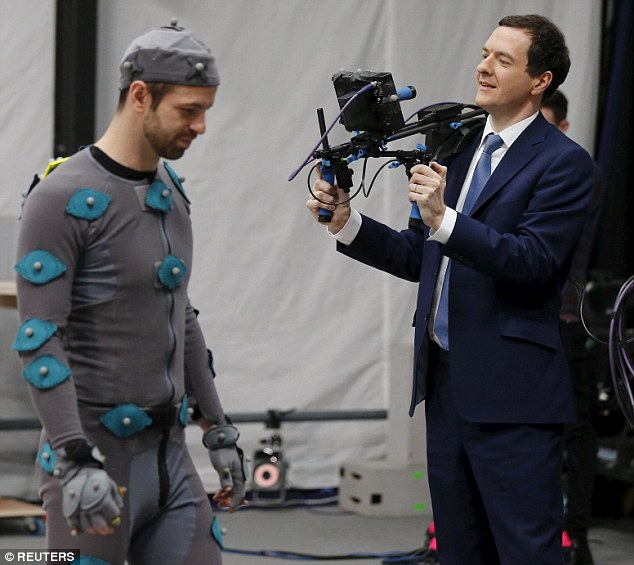 Mr Osborne revealed the highlight of his time as Chancellor came during a visit to Pinewood Studios on Monday (pictured)