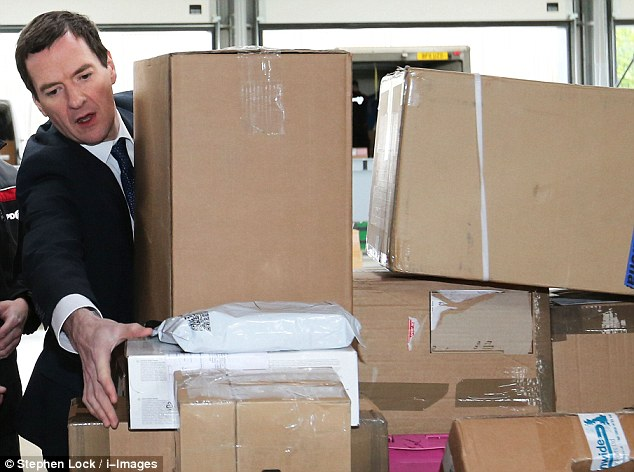 CORBY: To prove his willingness to do the heavy lifting in the election campaign, Mr Osborne helped load a van with parcels at delivery firm DPD