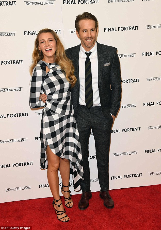 Date night: Blake Lively and Ryan Reynolds made a rare red carpet appearance together Thursday night in New York at the premiere for their friend Stanley Tucci's film Final Portrait