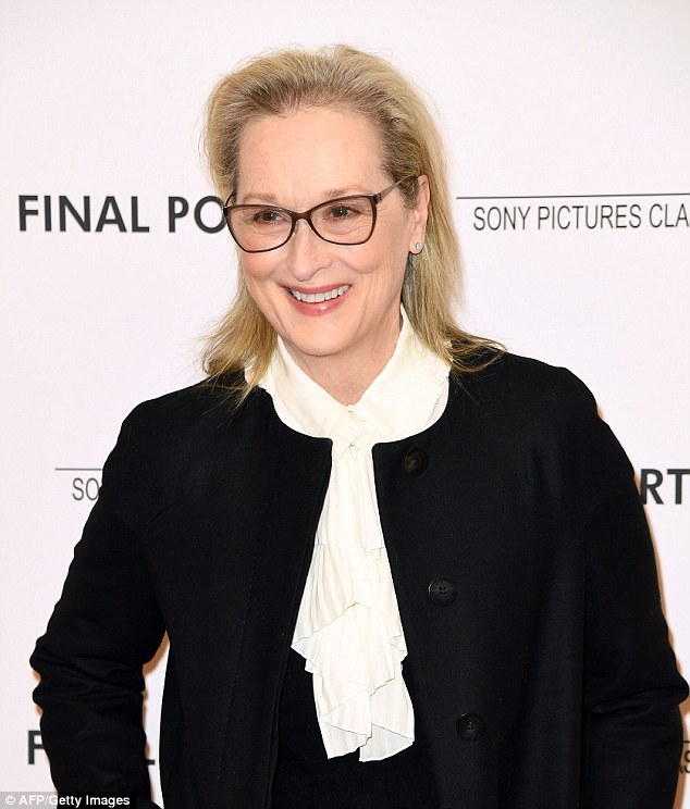 A-lister: Meryl added a pair of angular spectacles along with some blusher and red lip color