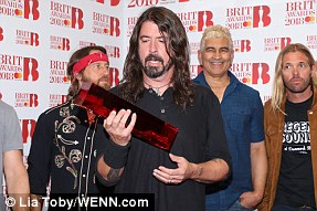 Acclaimed: Foo Fighters won the International Group Award