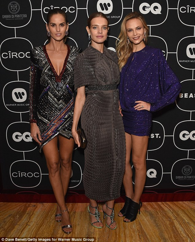 Squad: Izabel was joined by fellow catwalk queens including Natalia Vodianova who stunned in a grey snakeskin print ankle-grazing dress