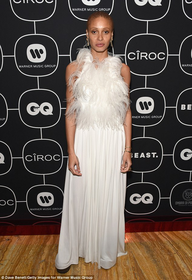 Angelic: Adwoa, who picked up the Model Of The Year title in December, looked every inch the goddess in a flowing white gown at the event sponosred by CÎROC