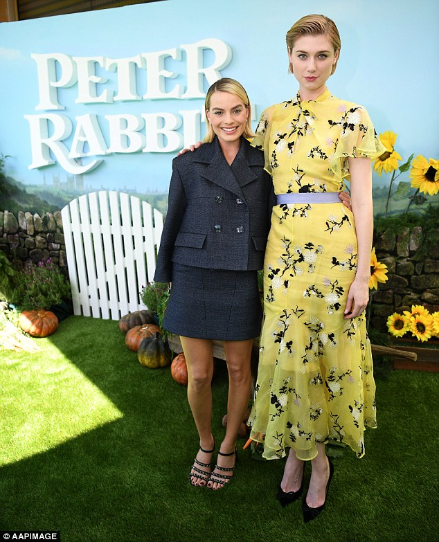 Say cheese: Margot also posed for photos with her Peter Rabbit co-star Elizabeth Debicki