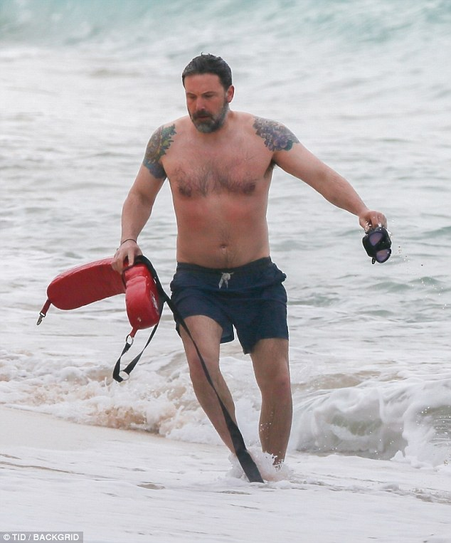 Focused: Affleck looked to be in decent shape as he got acclimated in the tide