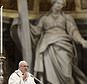 Pope Francis celebrates a Chrism Mass inside St. Peter's Basilica, at the Vatican, Thursday, March 29, 2018. During the Mass the pontiff blesses a token amount of oil that will be used to administer the sacraments for the year. (AP Photo/Gregorio Borgia)