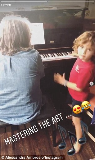 And while Jamie is currently in Manhattan, their son got piano lessons in LA