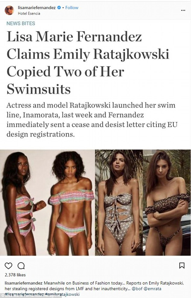 'Stealing registered designs': Designer Lisa Marie Fernandez has since sent Emily a cease-and- desist letter accusing her of copying her Leandra bikini and multi-bow Triple Poppy maillot from 2015