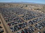 Shocking images have emerged showing lines of cars stretching out as far as the eye can see in the Californian desert