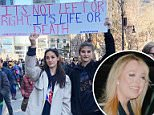 Eagle-eyed Instagram users have spotted Tiffany Trump liking a post that featured numerous posters from the March For Our Lives protest in New York (pictured)