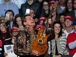 Rocker Ted Nugent made comments Friday while defending the National Rifle Association as a guest on the Joe Pags Show, a nationally syndicated conservative radio program. Nugent, an NRA board member, called survivors 'mushy brained students'. Pictured is him at a Trump rally