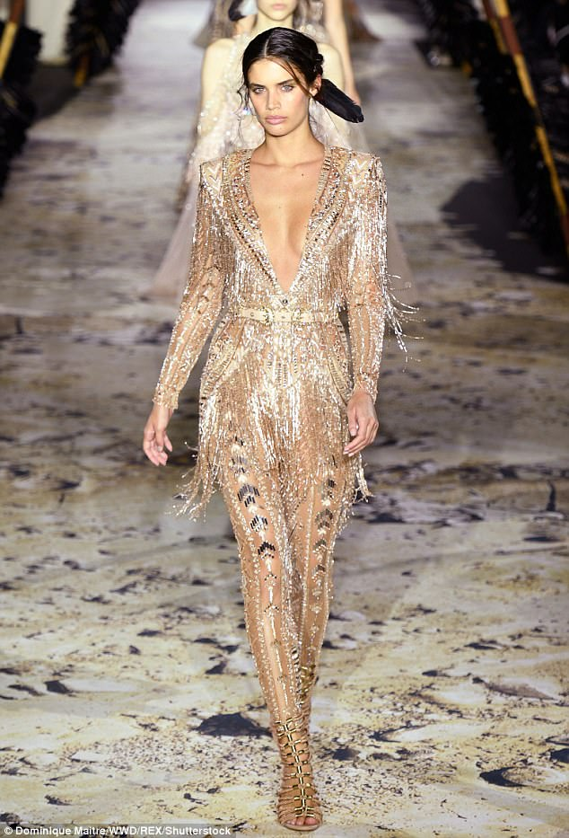 Golden girl! Sara Sampaio looked sensational as she stormed the runway for the Zuhair Murad show on Wednesday during Paris Haute Couture Fashion Week.