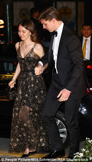 PrincessAlexandra of Hanover, the half-sister of Prince Christian, dazzled in a glittering black maxi dress