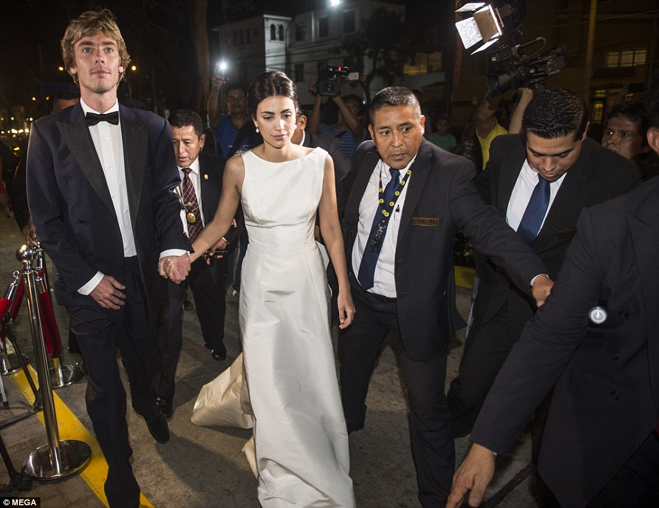 Bride Alessandra de Osma, 25, looked sensational in a classic ivory gown as she arrived with new husband Prince Christian