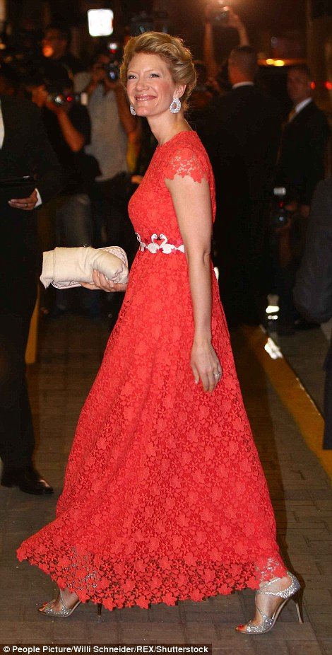 Princess Jeanette ofFurstenberg opted for a striking red lace gown