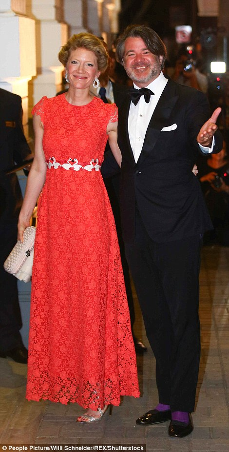 She arrived with her husband Prince Christian