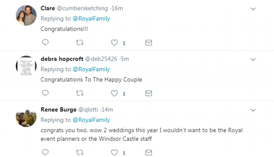 Fans were quick to congratulate the happy couple as the news was announced on Twitter