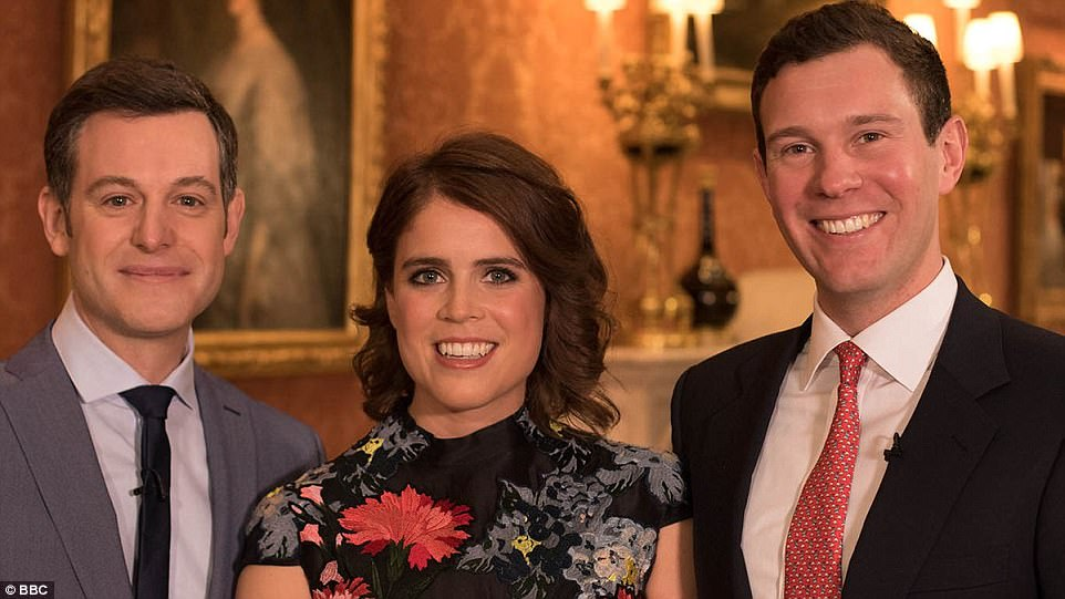 Princess Eugenie and her fiance Jack Brooksbank are pictured with the One Show host Matt Baker (left)