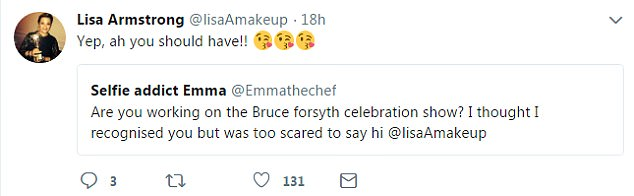 Sweet: Lisa has been keeping fairly quiet on social media since the split but kindly responded to a fan who wrote that she had recognised her