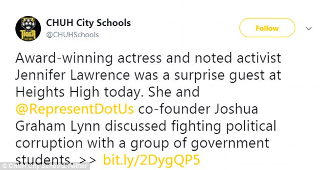 Inspiring: The 27-year-old actress joined non-partisan anti-corruption organization Represent.US to lead a discussion about the current climate in the US and fixing democracy with junior and senior students at Cleveland Heights High School