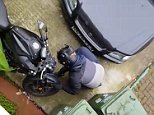 Shocking footage shows brazen thugs try to steal a £6,500 motorbike from outside the owner's front door in broad daylight
