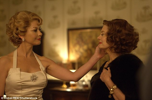 While the show (pictured) primarily focuses on the life-long feud between Bette Davis (Sarandon) and Joan Crawford, Dame Olivia claims that the characterization of her by Catherine Zeta-Jones misses the mark and paints her as a gossip. Feud's producers note in court papers that Dame Olivia dubbed her sister 'Dragon Lady' but they considered 'bitch' would be 'better understood by a modern audience'