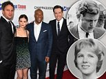Byron Allen (second from right), the executive producer of Chappaquiddick, says 'some very powerful people…tried to put pressure' on him 'not to release this movie.' The film's stars, Jason Clarke (far left), Kate Mara (second from left) and Ed Helms (far right), are seen above