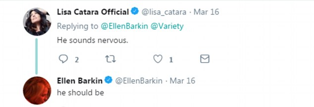 When actress Lisa Catara wrote that Gilliam 'sounds nervous', Barkin retorted 'he should be'