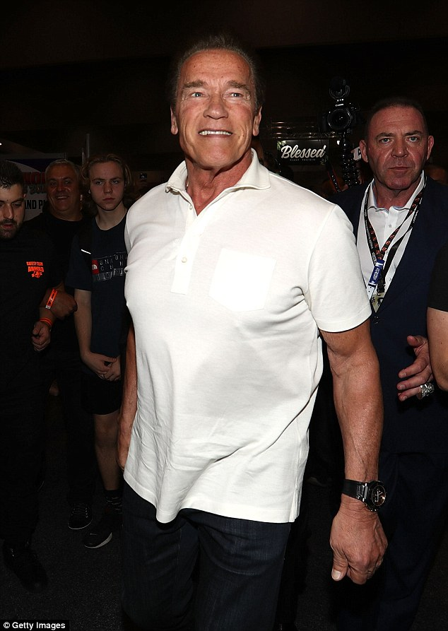Fitness enthusiast: Arnold was all smiles as he met with the crowd at the Melbourne convention