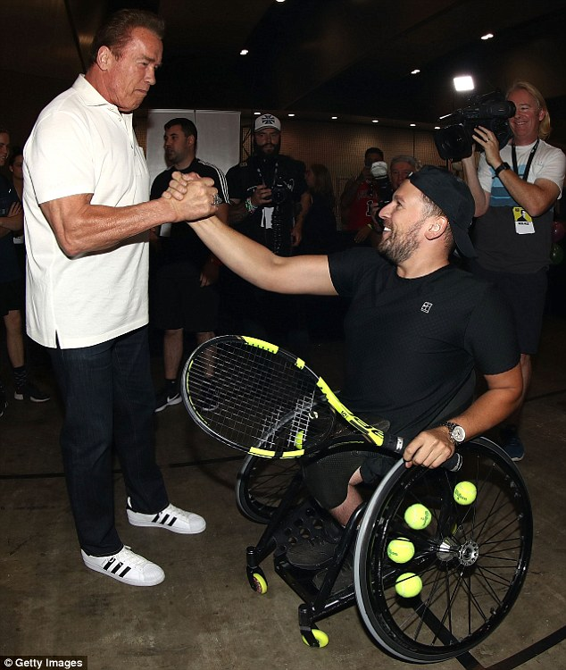 Friendly: He was particularly overjoyed to meet with Australian Open wheelchair tennis champion Dylan Alcott