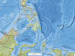 An earthquake of magnitude 6.2 struck off the southern Philippine island of Mindanao on Thursday, the US Geological Survey said. Pictured: A graphic showing where the quake struck