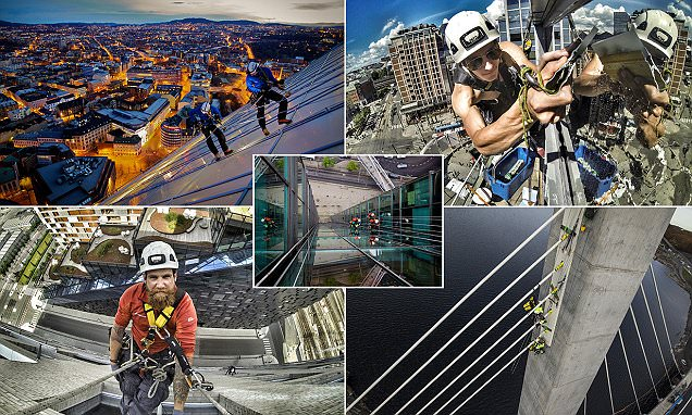 Incredible pictures of professional abseilers