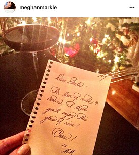An example of Meghan's calligraphy which she posted on Instagram