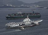 China's first aircraft carrier, the Liaoning, pictured in Hong Kong harbour, will be taking part in the exercises