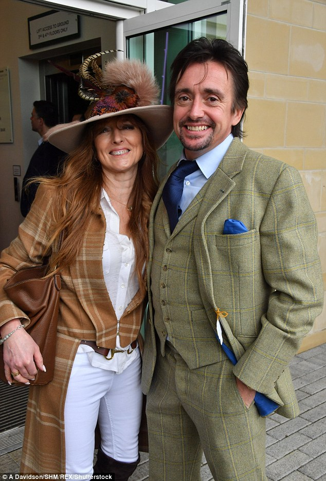 Looking good! Stylishly in sync with his former co-star, Richard Hammond made a very trendy arrival at the races in a tweed three-piece suit