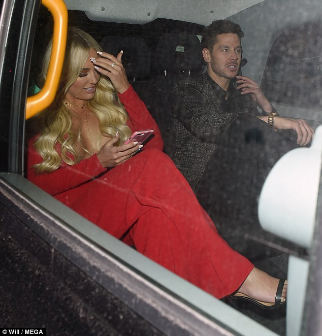 Just good friends? The stunner was smouldering in all red as she headed off with the dashingMancunian