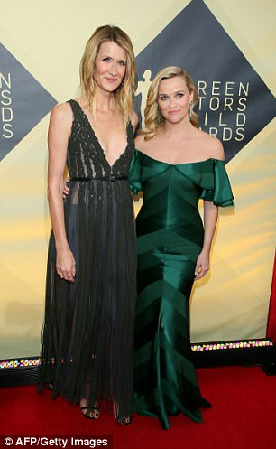 Dern is pictured with her Big Little Lies costar Reese Witherspoon at the Screen Actors Guild Awards on Sunday, January 21